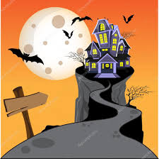 halloween haunted house castle on hill with moon bat and tree