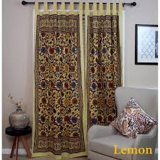 Navy Curtain Handmade 100 Cotton Sunflower Floral Tab Top Curtain Drape Door