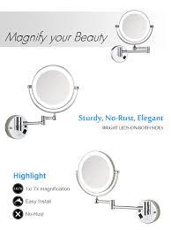 amazon com gurun 8 5 inch led lighted wall mount makeup mirror