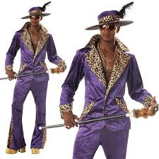 Pimp Halloween Costume Mens U0027 Purple Pimp Large Fancy Dress Costume 70s Movie Party