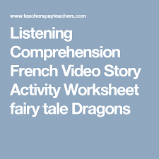 listening comprehension french video story activity worksheet
