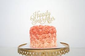 glitter cake topper wedding cake topper happily after cake topper gold cake