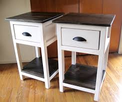 pair of diy narrow white bedside table with storage and drawer