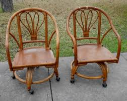 Vintage Bamboo Chairs Pair Accent Chairs Etsy