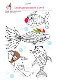 coloriage 4 poissons d u0027avril momes net