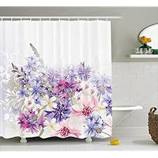 Lavender Bathroom Decor Amazon Com Eforgift 72 Inch By 78 Inch Floral Printed Shower