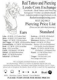 piercing pricelist and piercing