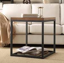 industrial rustic modern country wood metal end side table accent