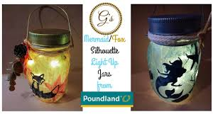 1 poundland craft silhouette mermaid light up jar nautical ocean