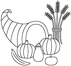 horn of plenty with wheat sheaf coloring page thanksgiving