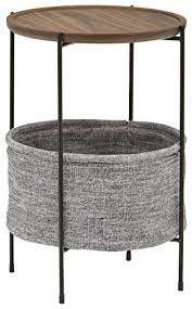 round walnut side table rivet meeks round storage basket side table walnut and grey fabric