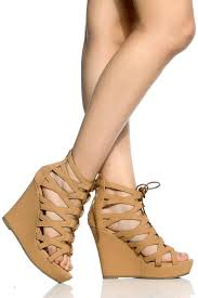 tan faux suede cut out lace up wedges cicihot wedges shoes store