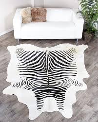 Reindeer Hide Rug Zebra Print Cowhide Rug Black On White Fursource Com