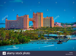 atlantis resort hotel in nassau bahamas to sunset stock photo