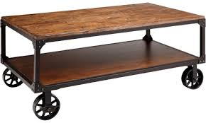Rolling Coffee Table Benicia Coffee Table With Metal Rolling Wheels Abode And Company
