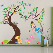 school room decoration promotion shop for promotional school room cartoon forest owl monkey paradise stick 3d wall stickers pvc film 3d diy wallpaper living room decor school wall decoration