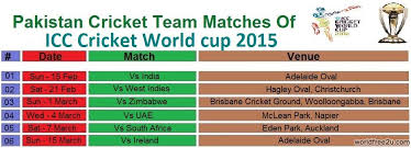 Cricket World Cup Table Icc Cricket World Cup 2015 Pakistan Matches Schedule Xyj In