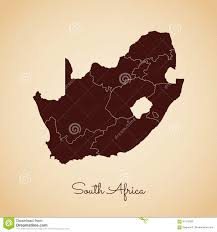 Africa Regions Map by South Africa Region Map Retro Style Brown Stock Vector Image