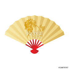folding fan or hand fan illustration gold color paint rooster