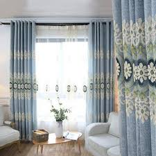 Floral Jacquard Curtains Blue Floral Jacquard Chenille Thermal Long Curtains For Bedroom Or