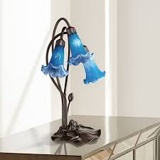 Blue Accent Table Blue Lily Flower 17