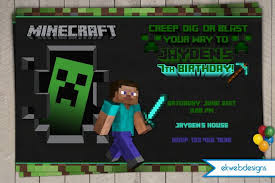 minecraft birthday invitations minecraft birthday invitations minecraft inspired party invites 2