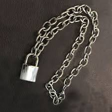 lock choker necklace images Heavy duty square lock padlock choker metal collar chain necklace jpg