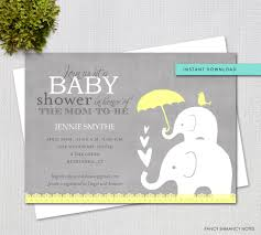instant download baby shower invitations editable baby shower invitation yellow and grey elephant