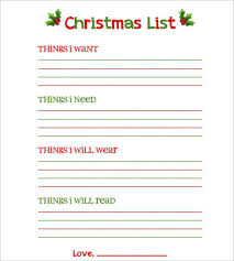 printable list template birthday wish list template template
