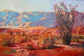 ocotillo gold contemporary impressionism landscape oil