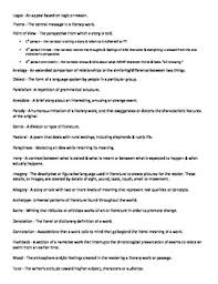 literary terms list and worksheet activity by cassandra rodriguez