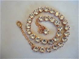 swarovski gold necklace crystals images Clear swarovski crystal rose gold princess length necklace set jpg