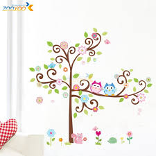 Nursery Stickers Large Owl Swing Flower Tree Wall Decal Removable Stickers Decor
