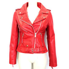 brando biker style red leather jacket for women custom made