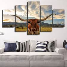 Texas Longhorn Home Decor Forbeauty 5 Piece Canvas Painting Home Decoration Bos Taurus