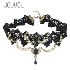 gothic steampunk necklace images 2018 collares sexy gothic chokers crystal black lace neck choker jpg