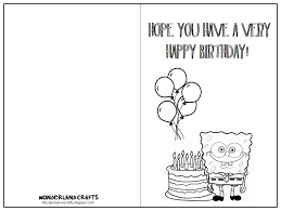 spongebob happy birthday coloring pages cute coloring printable birthday cards for kids picture spongebob