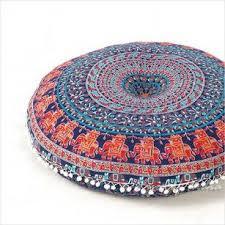 Ottoman Pillow Cushion by Green Hippie Boho Mandala Hippie Bohemian Floor Seating Pillow
