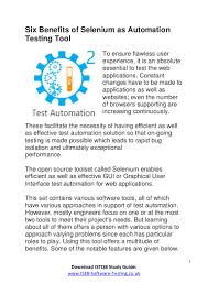 Six Benefits Of Selenium As Automation Testing Tool Iseb Istqb F U2026