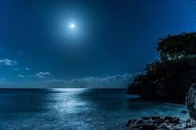 landscape nature caribbean sea starry night moon moonlight
