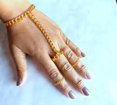bracelet ring online images Chunky hand chain golden ring chain hand adornment attached ring jpg