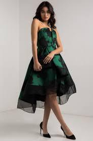 ammo x akira strapless satin asymmetric layered prom dress in