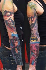 amazing sleeve tattoo of animated joker goluputtar com