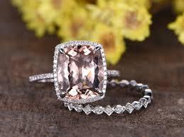 bridal set wedding rings 5 carat morganite bridal set 14k white gold diamond wedding ring