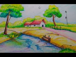 how to draw beautiful drawing how to draw a beautiful scenery with pastel for