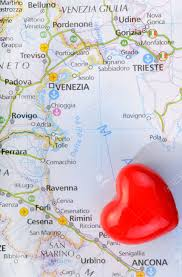 Italian Map Concept Love Of Venice With Heart And Italian Map Stock Photo