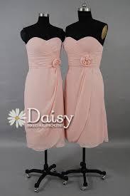 light pink knee length dress baby pink chiffon bridesmaid dress peach pink knee length dress