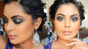 party makeup for brown skin glitter blue smokey eyes youtube