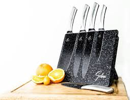 Stainless Steel Kitchen Knives Set by Kitchen Knife Set 5 Pc Stainless Steel Chef Knives Magnetic Wood