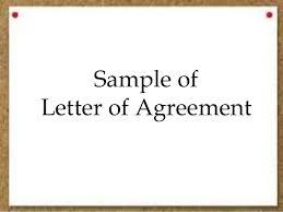 sample of letter of agreement